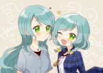 2girls ;d aqua_hair bang_dream! beige_background blue_shirt blush bow collared_shirt commentary_request dated green_eyes hair_bow happy_birthday heart hikawa_hina hikawa_sayo long_hair looking_at_another looking_at_viewer miyuara multiple_girls one_eye_closed open_mouth plaid plaid_shirt shirt short_hair short_sleeves siblings side_braids sisters smile twins upper_body violet_eyes white_shirt yellow_bow