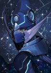 1boy armor blue_eyes blue_hair cape covered_mouth duel_monster fishfall glass glowing glowing_armor helmet highres mask medium_hair reflection shooting_star sky slit_pupils solo space sparkle star star_(sky) starry_sky yu-gi-oh!