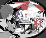 3boys beach beach_umbrella belial_(granblue_fantasy) black_hair book drink gran_(granblue_fantasy) granblue_fantasy high_heels irarima_gb legs_crossed lucilius_(granblue_fantasy) male_focus multiple_boys shirt sitting smile sunglasses tropical_drink umbrella vee_(granblue_fantasy) white_hair