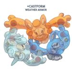 artist_name castform character_name commentary creature creatures_(company) dar-draws english_commentary english_text eye_contact full_body fusion game_freak gen_3_pokemon gen_5_pokemon highres looking_at_another looking_at_viewer nintendo no_humans pokemon pokemon_(creature) reuniclus signature simple_background white_background