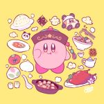 animal_costume chopsticks cup flower food hat kirby kirby_(series) kisaragi_yuu_(fallen_sky) looking_at_viewer maxim_tomato meat nintendo no_humans noodles panda panda_costume pink_flower pot ramen signature simple_background solo star stew teacup teapot tomato tongue tongue_out waddle_dee yellow_background