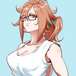 1girl alternate_hairstyle android_21 black-framed_eyewear blue_background blue_eyes breasts brown_hair cleavage closed_mouth collarbone commentary_request curly_hair dragon_ball dragon_ball_fighterz earrings flat_color glasses hair_ornament hair_up high_ponytail hoop_earrings jewelry long_hair looking_at_viewer lowres medium_breasts ponytail scrunchie shirt smile solo st62svnexilf2p9 tank_top upper_body very_long_hair white_shirt