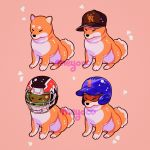 animal animal_focus artist_name baseball_cap baseball_helmet blue_helmet brown_hat dog football_helmet hat helmet highres meyoco no_humans original pink_background shiba_inu simple_background sitting sparkle sportswear
