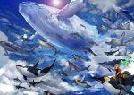 1boy bedroll beluga_whale bird blonde_hair blue_sky clouds dolphin flying_whale hammerhead_shark hand_up humpback_whale lens_flare manta_ray nurse_shark orca original pants penguin saddle shark sky solo whale wristband