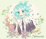 1other androgynous aqua_eyes aqua_hair colored_eyelashes crystal_hair eyebrows_visible_through_hair eyes_visible_through_hair flower gem_uniform_(houseki_no_kuni) happy houseki_no_kuni looking_at_viewer necktie noyuri_(noyuri222) open_mouth phosphophyllite short_hair smile solo twitter_username upper_body