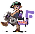 1girl :d bare_arms bare_shoulders baseball_cap black_hat blue_shirt brown_footwear dark_skin full_body hat holding ink_tank_(splatoon) jamir leg_up looking_at_viewer nautilus_(splatoon) octarian octoling open_mouth paint purple_hair purple_tongue shirt shoes short_hair smile solo splatoon splatoon_(series) splatoon_2 tank_top tentacle_hair violet_eyes white_background