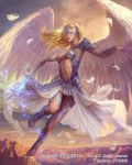 1girl angel_wings armor artist_name blonde_hair bracer breasts clouds company_name covered_eyes facing_viewer full_body highres holding holding_sword holding_weapon long_skirt medium_breasts midair mobius_final_fantasy navel official_art outdoors sandals skirt solo sunset sura sword watermark weapon white_feathers white_skirt white_wings wings