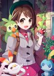 1girl :d :o ;) backpack bag bangs blue_eyes blush bob_cut brown_bag brown_eyes brown_hair cardigan closed_mouth coconat_summer commentary_request cowboy_shot creatures_(company) doors dress eyebrows eyebrows_visible_through_hair female_protagonist_(pokemon_swsh) flower game_freak gen_8_pokemon green_hat grey_cardigan grookey hair_ornament hat highres holding holding_poke_ball long_sleeves looking_at_viewer nintendo one_eye_closed open_mouth outdoors pink_dress plant poke_ball poke_ball_(generic) pokemon pokemon_(creature) pokemon_(game) pokemon_swsh scorbunny short_hair smile sobble tam_o'_shanter vines window