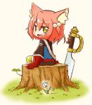 1girl 7th_dragon 7th_dragon_(series) :d animal_ear_fluff animal_ears bangs bike_shorts black_shorts blue_jacket blush brown_background cat_ears commentary_request eyebrows_visible_through_hair fang flower gloves grass green_eyes hair_between_eyes hair_bobbles hair_ornament harukara_(7th_dragon) jacket long_sleeves looking_at_viewer looking_back naga_u one_side_up open_mouth orange_hair planted_sword planted_weapon red_gloves short_shorts shorts sidelocks sitting smile solo striped striped_legwear sword tree_stump weapon white_flower