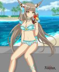 1girl absurdres animal_ears beach bikini blue_bikini blush breasts cleavage clouds cloudy_sky collar cup flower grey_hair hair_ornament highres holding holding_cup long_hair looking_at_viewer medium_breasts nintendo niyah ocean palm_tree ribbon sitting sky solo spoilers swimsuit tree very_long_hair xenoblade_(series) xenoblade_2 yellow_eyes