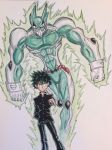 absurdres boku_no_hero_academia crossover deku green_hair highres jojo_no_kimyou_na_bouken kuujou_joutarou midoriya_izuku musclecar navy school_uniform stand_(jojo) theultratom traditional_media watercolor_(medium)
