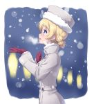 1girl absurdres blonde_hair blue_eyes blurry braid breath commentary darjeeling eyebrows_visible_through_hair from_side fur-trimmed_hat girls_und_panzer grey_coat grey_hat highres kuzuryuu_kennosuke light_blush long_sleeves night open_mouth outdoors short_hair smile snow solo standing tied_hair twin_braids upper_body violet_eyes winter_clothes