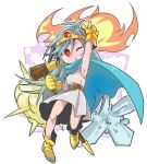 1girl arm_up blue_cape blue_hair boots cape circlet dragon_quest dragon_quest_iii dress eyebrows_visible_through_hair fire full_body gem gloves hair_between_eyes holding holding_staff ice jamir legs_apart long_hair one_eye_closed open_mouth outline red_eyes sage_(dq3) sleeveless sleeveless_dress solo staff v-shaped_eyebrows white_dress white_outline yellow_footwear yellow_gloves