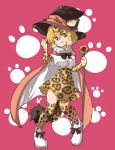 1girl :d animal_ears animal_print bangs black_bow black_hat black_neckwear blonde_hair bow bowtie cape center_frills elbow_gloves eyebrows_visible_through_hair full_body fur_collar gloves hair_between_eyes hand_up hat high-waist_skirt highres holding holding_staff jaguar_(kemono_friends) jaguar_ears jaguar_print jaguar_tail jamir kemono_friends legs_apart looking_at_viewer open_mouth paw_print pigeon-toed pink_background shirt shoes short_hair short_sleeves skirt smile solo staff tail thigh-highs v-shaped_eyebrows white_footwear white_shirt yellow_eyes