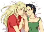 1boy 1girl black_eyes black_hair blonde_hair blush green_tank_top gundam gundam_wing hand_kiss itou_katsumi kiss long_hair lucrezia_noin red_shirt shirt short_hair strap_slip tank_top white_background zechs_merquise