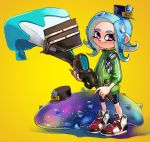1girl agent_8 bike_shorts black_hat blue_hair calligraphy_brush closed_mouth conductor_namako full_body green_jacket hat headphones highres holding holding_brush jacket legs_apart long_hair mini_hat momomomomoa octarian octobrush_(splatoon) octoling paint paintbrush sea_cucumber shoes single_vertical_stripe sleeves_past_elbows smile splatoon splatoon_(series) splatoon_2 splatoon_2:_octo_expansion standing suction_cups tentacle_hair track_jacket violet_eyes yellow_background