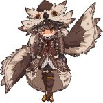 1girl :o animal_hat arm_up bangs bird_hat black_skirt blush bow braid brown_coat brown_footwear brown_hat coat copyright_request dress_shirt eyebrows_visible_through_hair full_body grey_shirt hair_between_eyes hat kneebar leaning_to_the_side long_hair long_sleeves mori_no_kaeru orange_eyes parted_lips pointy_ears red_bow shirt simple_background skirt sleeves_past_fingers sleeves_past_wrists solo standing twin_braids v-shaped_eyebrows very_long_hair white_background