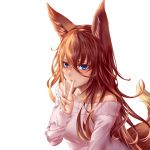 1girl animal_ear_fluff animal_ears bangs blue_eyes blush breasts collarbone eyebrows_visible_through_hair fox_ears fox_girl fox_tail hair_between_eyes highres long_hair long_sleeves looking_at_viewer mole mole_under_eye off-shoulder_sweater off_shoulder open_mouth orange_hair original pink_sweater simple_background smile solo sweater tail upper_body v white_background yuzuriha_(pixiv_14248010)