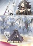 2girls armor banner boots breasts brown_hair cape cleavage dragon dragon_claw dragon_wings fate/grand_order fate_(series) flag fur_collar fur_trim ginhaha glowing glowing_eyes grey_hair headwear jeanne_d'arc_(alter)_(fate) jeanne_d'arc_(fate)_(all) large_breasts long_hair multiple_girls pointy_ears polearm red_carpet semiramis_(fate) short_hair spear spikes sweatdrop thigh-highs weapon wings wyvern yellow_eyes