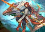 1boy blue_sky dragon dragon_boy full_body haku_(shirogane) highres holding holding_spear holding_weapon horns lizard_tail long_hair looking_at_viewer outdoors pixiv_fantasia_last_saga pointy_ears polearm redhead sky solo spear standing tail very_long_hair weapon