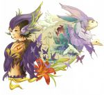 1boy androgynous animal animal_ears bird brown_hair bug butterfly coon_(saga_frontier) dove eye_contact facing_viewer flower fur furry green_eyes hair_ornament insect jewelry looking_at_another looking_at_viewer male_focus midriff monster navel parted_lips saga saga_frontier short_hair simple_background smile solo tail white_background white_hair