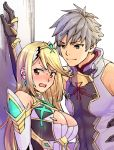1boy 1girl adel_orudou armor bangs bare_shoulders blonde_hair blush breasts cleavage closed_mouth dress earrings elbow_gloves gem gloves grey_hair hair_ornament headpiece hikari_(xenoblade_2) jewelry large_breasts long_hair nervous nintendo ooshima_aki open_mouth short_hair shoulder_armor sweat sweatdrop swept_bangs tiara very_long_hair wall white_dress xenoblade_(series) xenoblade_2 xenoblade_2:_ogon_no_kuri_ira yellow_eyes