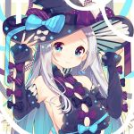 1girl absurdres bare_shoulders black_bow black_dress black_hat black_sleeves blue_bow blue_eyes blue_nails blush bow breasts brown_nails closed_mouth commentary_request detached_sleeves diagonal_stripes dress earrings fingernails forehead glint hands_on_headwear hands_up hat highres ikari_(aor3507) jewelry long_hair long_sleeves medium_breasts multicolored multicolored_nails nail_polish original red_bow sideboob silver_hair sleeveless sleeveless_dress sleeves_past_wrists smile solo striped striped_bow upper_body very_long_hair witch witch_hat