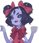 1girl black_hair bow cup extra_arms extra_eyes hair_bow hajime_(hajime-ill-1st) holding monster_girl muffet open_mouth purple_skin red_shirt ribbon shirt short_hair simple_background smile solo teacup teapot two_side_up undertale upper_body violet_eyes white_background