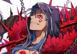 1boy blue_hair chains clenched_teeth close-up cu_chulainn_alter_(fate/grand_order) dpea9 face facial_mark facial_tattoo fate/grand_order fate_(series) gae_bolg grin hair_strand highres hood lancer long_hair looking_at_viewer male_focus over_shoulder red_eyes sharp_teeth simple_background smile solo spikes tattoo teeth white_background
