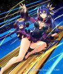 1girl blue_eyes blue_hair breasts cleavage copyright_name floating_hair fur-trimmed_sleeves fur_trim hair_between_eyes hair_ornament high_ponytail long_hair long_sleeves medium_breasts miniskirt murakami_yuichi pumps puppet puppet_strings purple_skirt purple_sleeves shrug_(clothing) skirt sleeveless smile solo star strapless very_long_hair wixoss