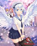 3girls angel_wings black_legwear black_neckwear black_skirt blue_eyes blush bracelet breasts briefcase brown_hair cherry_blossoms company_name cross day eyebrows_visible_through_hair falkyrie_no_monshou green_eyes hair_ornament hat holding_briefcase jewelry long_hair looking_at_another looking_at_viewer medium_breasts multiple_girls natsumekinoko necktie nervous_smile official_art open_mouth outdoors railing sailor_collar sailor_hat short_hair short_sleeves skirt smile thigh-highs tree uniform white_hair white_hat wings x_hair_ornament