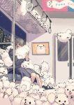 1girl animal animal_hug bangs blunt_bangs closed_eyes door fluffy grey_bag grey_hair grey_skirt highres long_sleeves looking_at_viewer medium_hair night night_sky open_mouth original puppy sitting skirt sky solo too_many train_interior window yukinojo63