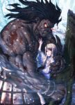 1boy 1girl angry berserker black_hair blood blood_on_face breasts fate/stay_night fate_(series) glowing glowing_eyes highres holding holding_weapon illyasviel_von_einzbern injury kuroshio_(zung-man) long_hair looking_at_viewer muscle protecting red_eyes small_breasts tearing_up tears weapon white_hair