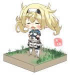 1girl =_= artist_name belt belt_buckle blonde_hair blue_shirt blush breast_pocket buckle buttons closed_eyes commentary_request crying eyebrows_visible_through_hair full_body gambier_bay_(kantai_collection) gloves hair_between_eyes kantai_collection long_hair multicolored multicolored_clothes multicolored_gloves open_mouth pocket shirt short_sleeves simple_background solo taisa_(kari) tears twintails white_background