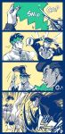 ! 2boys 4koma anger_vein boots coffee comic diamond_wa_kudakenai fighting footwear_on_head higashikata_jousuke imitating jojo_no_kimyou_na_bouken kishibe_rohan male_focus multiple_boys pompadour scissors