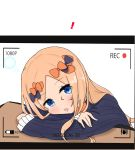 ! 1girl abigail_williams_(fate/grand_order) atsumisu bangs black_bow black_dress blonde_hair blue_eyes blush bow commentary_request dress drooling eyebrows_visible_through_hair fate/grand_order fate_(series) fingernails forehead hair_bow head_rest highres long_hair long_sleeves no_hat no_headwear orange_bow parted_bangs parted_lips recording saliva sleeves_past_wrists solo very_long_hair viewfinder