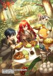 1boy 2girls alcohol apron artist_name basket beer black_hair brown_jacket cabbage cherry_tomato closed_eyes copyright_request cravat day dutch_angle eating egg fairy food food_request forest fork fox hair_between_eyes hood hood_down jacket long_sleeves meat mito_itsuki multiple_girls nature official_art open_mouth outdoors red_eyes redhead sitting soy_sauce spoon stool tablecloth tree tree_stump