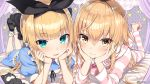 2girls :3 :d absurdres apron bed black_footwear black_ribbon blonde_hair blue_dress blush breasts chin_rest closed_mouth commentary_request curtains drawstring dress frilled_dress frills greatmosu hair_between_eyes hair_ribbon headphones headphones_around_neck heart heart-shaped_pupils highres hood hood_down hooded_jacket ienaga_mugi indoors jacket legs_up long_hair long_sleeves looking_at_viewer lying mononobe_alice multiple_girls nijisanji on_bed on_stomach open_mouth pajamas paw_print polka_dot ribbon shoes short_sleeves slippers small_breasts smile socks star striped_jacket stuffed_animal stuffed_toy symbol-shaped_pupils teddy_bear twitter_username virtual_youtuber white_legwear wing_collar
