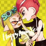 1boy 1girl :d agent_8 black_eyes blonde_hair checkered checkered_background domino_mask eyewear_on_head fangs happy_new_year inkling long_hair long_sleeves looking_at_another mask miyashiro mohawk navel new_year octarian octoling open_mouth orange_eyes pixiv_username pointy_ears redhead short_hair single_sleeve smile splatoon splatoon_(series) splatoon_2 splatoon_2:_octo_expansion squidbeak_splatoon tentacle_hair twitter_username vest yellow_tongue yellow_vest