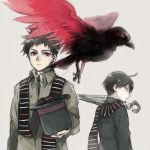 2boys ahoge asuna_(doruru-mon) beak bird birdmen black_hair black_hat black_neckwear black_wings brown_background character_request closed_mouth hat highres holding holding_umbrella looking_back multicolored multicolored_wings multiple_boys necktie red_eyes red_wings scarf simple_background spiky_hair standing striped striped_scarf talons top_hat umbrella wings