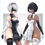 2girls alternate_color black_gloves black_hair black_hairband black_legwear blindfold boots breasts china_dress chinese_clothes cleavage cleavage_cutout covered_eyes covered_navel cowboy_shot dark_skin dress dual_persona elbow_gloves female gloves grey_hair hairband medium_breasts mellow_rag mole mole_under_mouth multiple_girls nier_(series) nier_automata short_hair simple_background soul_calibur soulcalibur_vi standing symmetry thigh-highs thigh_boots thighhighs_under_boots very_dark_skin white_gloves white_hairband white_legwear yorha_no._2_type_b