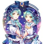 2girls :d alternate_hairstyle aqua_hair ascot back_bow bang_dream! beret blue_capelet blue_hat blue_neckwear blue_ribbon bow bowtie braid brooch capelet center_frills constellation_hair_ornament constellation_print corset dress earrings green_eyes hair_over_shoulder hat hat_bow highres hikawa_hina hikawa_sayo jewelry long_hair long_sleeves looking_at_viewer medium_hair minori_(faddy) multiple_girls open_mouth outstretched_hand pearl_(gemstone) print_dress print_hat ribbon siblings single_braid sisters smile star striped striped_bow striped_neckwear striped_ribbon twin_braids twins v-shaped_eyebrows