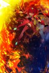 1girl angry armor bangs breasts fingerless_gloves fire gem gloves hair_ornament headpiece highres holding holding_sword holding_weapon homura_(xenoblade_2) jewelry large_breasts nintendo red_eyes red_shorts redhead short_hair short_shorts shorts simple_background solo swept_bangs sword tarbo_(exxxpiation) tiara weapon white_background xenoblade_(series) xenoblade_2