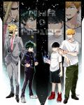 4boys black_hair blonde_hair boku_no_hero_academia dandel formal green_hair highres kageyama_shigeo male_focus midoriya_izuku mob_psycho_100 multiple_boys necktie red_neckwear reigen_arataka shirt signature suit white_shirt yagi_toshinori