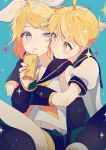 1boy 1girl asphyxiation blonde_hair blue_background blue_eyes blush box brother_and_sister cheek-to-cheek chin_rest detached_sleeves drinking drinking_straw drowning fingernails frown hair_ornament hair_ribbon hairclip holding holding_box juice_box kagamine_len kagamine_rin looking_at_another musical_note nail_polish navel nervous puffy_short_sleeves puffy_sleeves ribbon sailor_collar saliva shirt short_hair short_sleeves siblings simple_background sparkle sparkle_background sparkling_eyes sweatdrop treble_clef twins vocaloid white_shirt yellow_nails yellow_ribbon yuno_tsuitta