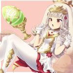 1girl absurdres animal_ears bunny_tail easter_egg egg fake_animal_ears fake_tail fire_emblem fire_emblem_heroes flower gloves grail grey_hair hair_flower hair_ornament highres long_hair nintendo open_mouth pantyhose rabbit_ears red_eyes solo steeb26 tail twitter_username veronica_(fire_emblem) white_gloves white_legwear