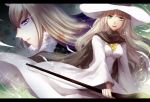 2girls animal_ears brown_cape cape hat long_hair looking_at_viewer miracera_master_of_the_magic_institute multiple_girls pixiv_fantasia_last_saga quintica_chief_of_the_polar_night sae_(091688) sideways_glance staff standing violet_eyes white_hat white_robe wizard_hat