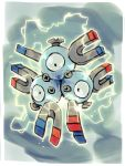 bummerdude commentary creature creatures_(company) electricity english_commentary full_body game_freak gen_1_pokemon grey_background highres magneton nintendo no_humans pokemon pokemon_(creature) solo
