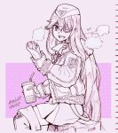 1girl azur_lane ballpoint_pen_(medium) bangs boots breasts burrito drink drinking_straw eyepatch fur_trim garrison_cap gloves hair_between_eyes hat ichinana_(dametetujin17) jacket large_breasts limited_palette long_hair military monochrome scharnhorst_(azur_lane) skirt solo traditional_media uniform