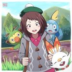 1girl alternate_costume artist_name backpack bag blurry blurry_background boku_no_hero_academia brown_eyes brown_hair cardigan commentary_request cosplay creatures_(company) day eyebrows_visible_through_hair female_protagonist_(pokemon_swsh) female_protagonist_(pokemon_swsh)_(cosplay) game_freak gen_8_pokemon grey_cardigan grookey happy hat highres long_sleeves looking_at_viewer mountain neotwenty nintendo outdoors pink_shirt pokemon pokemon_(creature) pokemon_(game) pokemon_swsh scorbunny shirt short_hair sky smile sobble solo tree upper_body upper_teeth uraraka_ochako